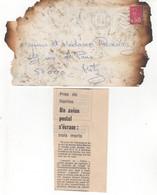 COURRIER ACCIDENTE. DETERIORE. Réacheminé Par La Poste Avec Coupure De Journal Relatant L'accident. Voir Scans - Curiosa: 1970-79 Brieven & Documenten