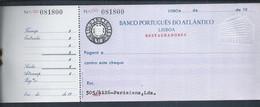 Cheque Desde Banco Portugués Do Atlántico, Restauradores, Lisboa 1960. Sello De Cheque En Relieve. Chequestempel  Reliëf - Cheques & Traverler's Cheques