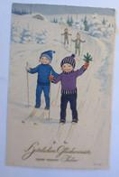 Neujahr, Kinder, Mode, Ski, Langlauf,   1924, Fritz Baumgarten ♥ (31939)  - Nieuwjaar