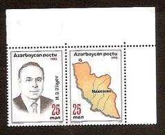 Azerbaijan 1993●Map●●Landkarte●●75 Birthday Of President H. Aliev●Mi105A-06A - Aserbaidschan