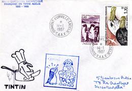 """BELLE ENVELOPPE Des TAAF De 1987 """" TINTIN + Signature """" En Bas à Gauche (?). N° YT 86 + 116. Parfait état - Unclassified"""
