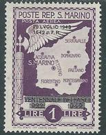 1943 SAN MARINO POSTA AEREA CADUTA 1 LIRA MH * - RD54-5 - Luchtpost