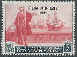 1952 SAN MARINO FIERA DI TRIESTE 2 LIRE MH * - RD46-5 - Unused Stamps