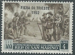 1952 SAN MARINO FIERA DI TRIESTE 4 LIRE MH * - RD46-6 - Unused Stamps