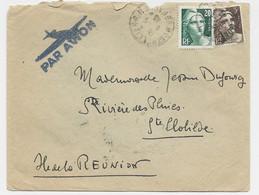 GANDON 20FR GRAVE+ 3FR BRUN  LETTRE AVION MONTPELLIER 1946 POUR ILE DE LA REUNION STE CLOTILDE - 1945-54 Marianne (Gandon)