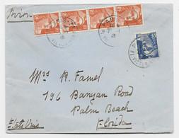 GANDON 10FR ORANGE BANDE DE 4+4FR BLEU LETTRE AVION PARIS  21.1.1946 AU TARIF AVION COURT - 1945-54 Marianne (Gandon)