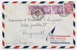 GANDON 3FR LILAS + 10FR VIOLET BANDE DE 3 LETTRE COVER AVION PARIS 48 23.12.1948 POUR LE LIBAN  LEBANON AU TARIF - 1945-54 Marianne (Gandon)