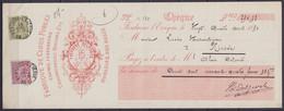 """Chèque """"Fabrique De Clous Forgés Delporte"""" Affr. N°46+47 Càd FONTAINE L'EVEQUE /24 AVRIL 1890 Pour NINOVE - 1884-1891 Leopold II"""