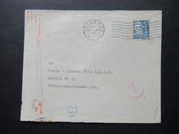 Dänemark 1941 Zensurbeleg / Mehrfachzensur OKW Zensurstreifen Geöffnet Cineastik Tobis Cinema Film Berlin - Cartas