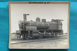 Locomotive PO 1903 - Photo Schneider Sur Carton - Transformation Compound - France Train Vapeur Chemin FerParis Orléans - Trains