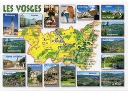 CPM Géographique - 88 La France Par Département. LES VOSGES. Ventron, La Bresse, Gérardmer, Mirecourt, Multi Vues - TBE - Landkaarten