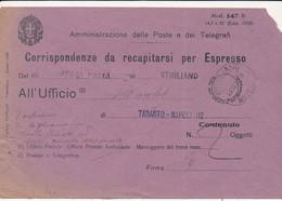 1934  AMMINISTRAZIONE POSTE MODELLO 147 B EDIZ 1930 DA STIGLIANO - Sin Clasificación