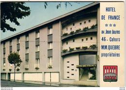 D46  CAHORS HÔTEL DE FRANCE Av Jean Jaurès  ............. Carte Publicitaire Double - Cahors