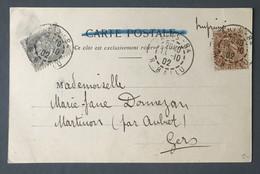 France N°107 Et 110 Sur CPA, TAD Paris 13.10.1902 Pour Martinon - (B426) - 1877-1920: Periodo Semi Moderno