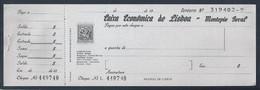Cheque Bancário Da Caixa Económica De Lisboa. Bank Check Of Caixa Económica De Lisboa. Chèque Bancaire De Caixa Económi - Cheques & Traverler's Cheques