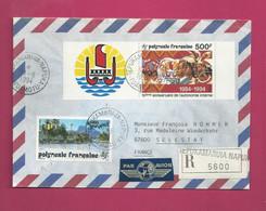 Lettre Recommandée De 1994  Pour La France. YT N° 399 Et 458 Avec Vignette - Storia Postale
