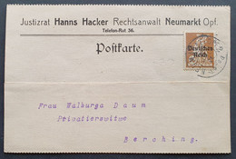 Deutsches Reich 1921, Postkarte NEUMARKT - Covers & Documents