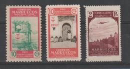 MAROCCO  SPAGNOLO:  1938/53  VARI  -  3  VAL. S.G./ US. -  YV/TELL. 404 + 438 + P.A. 9 - Spanish Morocco