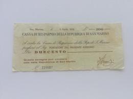 SAN MARINO MINI ASSEGNO 200 LIRE 1976 - San Marino