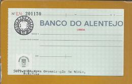 Check From Banco Do Alentejo, Évora. $10 Embossed Check Stamp. Cheque Do Banco Do Alentejo. Selo De Cheque Em Relevo. - Cheques & Traverler's Cheques
