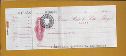 Check From Banco Do Pinto & Sotto Mayor, Algés. $05 Embossed Check Stamp. Cheque Banco Pinto & Sotto Mayor. Selo Relevo - Cheques & Traverler's Cheques