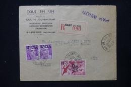 RÉUNION - Enveloppe Commerciale En Recommandé De St Pierre Pour La France En 1949, Affranchissement Surchargés - L 84690 - Sin Clasificación