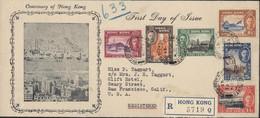 First Day Of Issue Centenary Of Hong Kong Recommandé HK YT 161 à 166 CAD Registered GPO HK 26 FEV 41 Pr USA - Brieven En Documenten