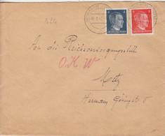 Lettre De Rombas (T329 Rombach Westm C) TP Hitler 4, 8pf Le 1/8/42 Pour L'O.K.W. à Metz - Elzas-Lotharingen