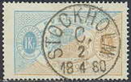 ZWEDEN 1874-77 1kr Dienstzegel Tanding 14 GB-USED - Officials