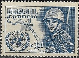 BRAZIL 1957 Air. United Nations Day - 5cr30 U.N. Emblem, Map Of Suez Canal And Soldier MNH - Luchtpost