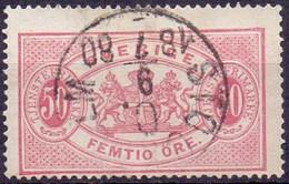ZWEDEN 1874-77 50öre  Dienstzegel Tanding 14 GB-USED - Officials