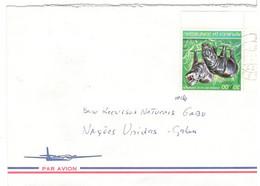 GUINE BISSAU GUINEA LETTRE LETTER CARTA 1987 HIPPOPOTAME HIPPO IPPOPOTAMO VERS GABU - Guinea-Bissau