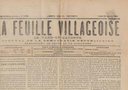 """IIIe République Journal De La Démocratie Républicaine """"La Feuille Villageoise"""" (25/1/1906). Tarif 1ctm - Newspapers"""