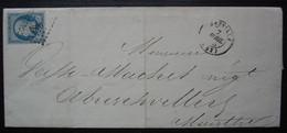 Lunéville (Meurthe) 1855 Pc 1800 Sur N° 14, J Virlet Grands Moulins De Lunéville, Lettre Pour  Abreschviller (Moselle) - 1849-1876: Classic Period