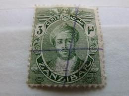 Zanzibar - Francobollo - Annullato - 3 Cents - Vert - - Zanzibar (1963-1968)