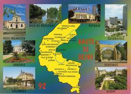 CPM Géographique - 92 Les Départements Français. HAUTS DE SEINE. Garches, Colombes, Puteaux, Courbevoie, Multivues - TBE - Maps