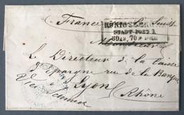 """Prusse, Lettre (LSC) De Königsberg 1870 Pour Lyon, Mention Manuscrite """"France Par La Suisse"""" - (B478) - Pruisen"""