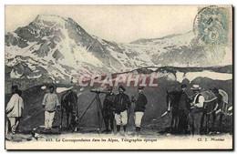 CPA Militaria Chasseurs Alpins La Correspondance Dans Les Alpes Telegraphie Optique - Uniformen