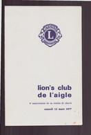 Menu Anniversaire Remise De Charte Du Lion's Club De L'Aigle Du 12 Mars 1977 - Menus