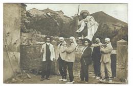 BARBAZAN (31) - CARTE PHOTO - HOMMES (ARTISTES), ORCHESTRE DE BARBAZAN - Oblit. 1908 - Barbazan
