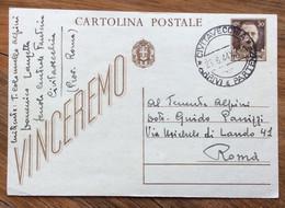 CARTOLINA POSTALE VINCEREMO 30 C. DA CIVITAVECCHIA  A MILITARE A ROMA IN DATA 23/6/44 - Storia Postale