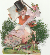 1er Avril, Jeune Enfant Sur Un Cochon, Découpis Et Ajoutis Ruban, Plantes +poisson+ Petite Carte En Celluloïd - 1er Avril - Poisson D'avril