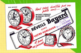 Buvard & Blotting Paper : Reveils BAYARD  Cachet Rosendael  Votre Horloger .Mickey Donald Bambi Pluto - H