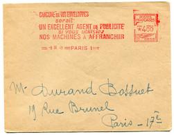 RC 19689 FRANCE 1949 PARIS 1 EMA MACHINE A AFFRANCHIR SUR LETTRE PUBLICITÉ MACHINES A AFFRANCHIR - EMA (Print Machine)