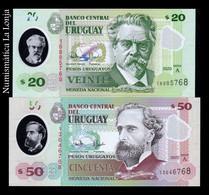 Uruguay Set 20 50 Pesos Uruguayos 2020 Pick New Serie A Polymer SC UNC - Uruguay