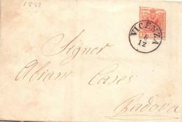 1865 Piego Con Testo Lombardo Veneto Da 15c Da Vicenza  Per Padova - Lombardo-Vénétie