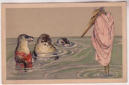 66203 Humor Ak Marabu Und 3 Seehunde Baden Im Meer Um 1920 - Satirisch