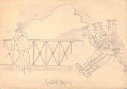Carte Feldpost Occupation Paris Cachet à L'Aigle Feldpost B 14.10.1940 + Dessin Humour Militaire Spähtrùpp - Briefe U. Dokumente