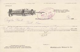 Marseilles US French Le Marseille Américain Manufacturing Co. 1903 Paid Invoice Reçu De Facture Banque Bank - Cheques & Traverler's Cheques