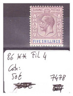 BAHAMAS - No Michel 86 ** ( SANS CHARNIERE )  ( FILIGRANE 4 )   -     COTE: 50 € - 1859-1963 Colonia Británica